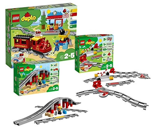 LEGO Duplo Dampfeisenbahn Set: 10874 Dampfeisenbahn + 10872 Eisenbahnbrücke mit Schienen + 10882 Schienenset