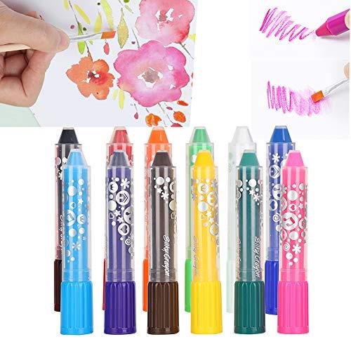 Jeanoko Wasserlösliche Buntstifte, drehbar gestaltet leicht zu waschen weiche Buntstifte Aquarellkreiden Löslicher Buntstift für Malbücher für