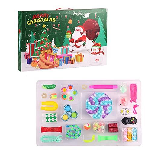 Hiraith Adventskalender Fidget Toy, 24 Tage Weihnachten Kalender Sensory Toys Bubble Spielzeug Kids Advent Calendar Fidget Toys Pack Pop Gift Box Set
