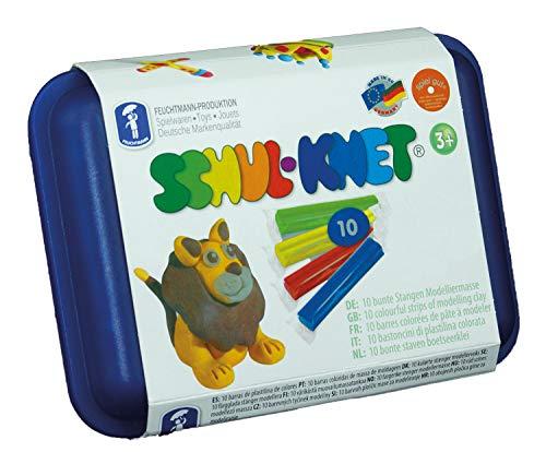 Feuchtmann 628.0110 - SCHUL-KNET, 10 bunte Stangen Knete in Maxi-Box, inkl. wiederverwendbarer Vorratsdose, ab 3 Jahren geeignet, ca. 180 g, ideal als Geschenk für kreatives Spielen