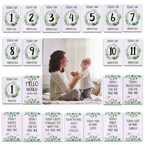 Meilensteinkarten für Babys, Unisex, für Jungen und Mädchen, als Andenken, Erinnerungsstück, für Babypartys, 24 Stück