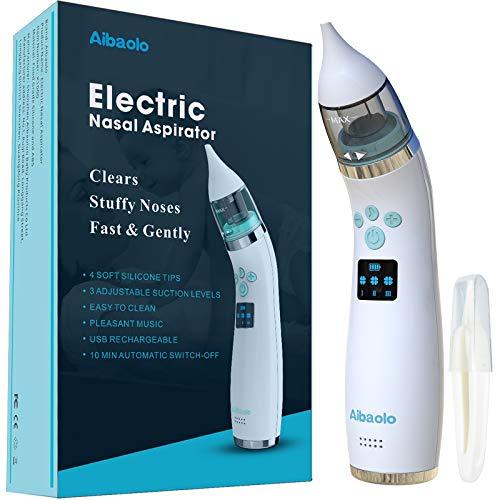 Elektrischer Baby Nasensauger USB Wiederaufladbar - Nasenreiniger mit 4 Silikonspitzen (2 verschiedene Größen) und 3 verstellbaren Saugstärken für Neugeborene und Kleinkinder - Wunderbare Musik (Weiß)