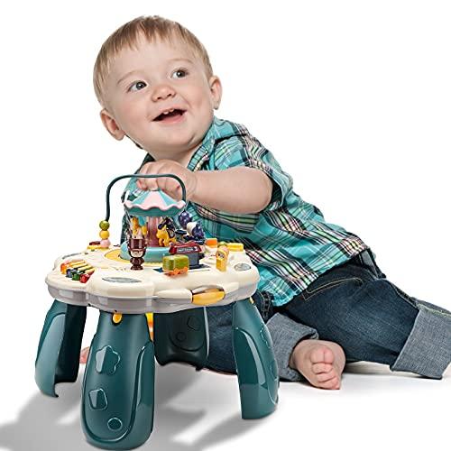 TTLIFE Spieltisch für das frühe Lernen 2 in 1 Musiktisch für Kinder Frühes Lernspielzeug Licht und Musik mit Mehreren Modi Spiel für Babys Kleinkinder ab 6 Monaten Jungen Mädchen