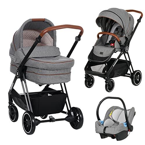 Kinderwagen 3 in 1 Komplettset Baby Zubehör Kinderwagen Buggy mit Liegefunktion Baby Ausstattung Neugeboren Kombikinderwagen Kinderautositz Babyschale Baby Wagen 3 in 1 (Hellgrau)