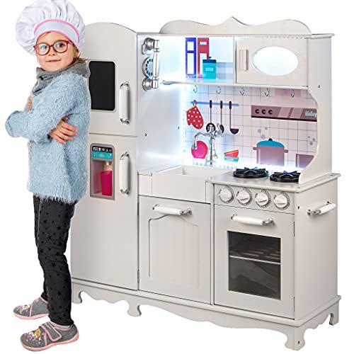 Kinderplay Kinderküche Holz, Große Spielzeug Küche für Kinder - mit Küchenzubehör, Spielküche mit Licht und Sound, LED-Licht, Kinder Küche Höhe 107 cm, bis zur Arbeitsplatte 50 cm, GS0053