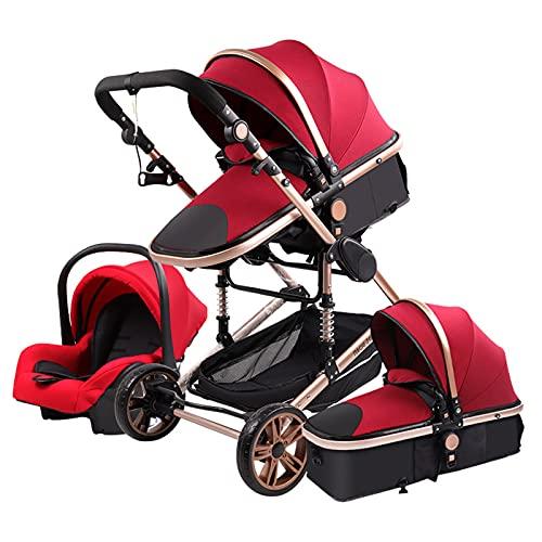 3 in 1 Kombikinderwagen 3 in 1 Tragbarer Reisekinderwagen Faltbarer Kinderwagen Aluminiumrahmen Hohe Landschaft Auto für Neugeborene Babyboomer Poussette (Rot)