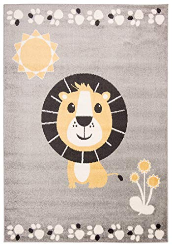 Carpeto Rugs Löwe Kinderzimmerteppich - Kurzflor Kinderteppich - Weich Teppich für Kinderzimmer - ÖKO-TEX Wohnzimmerteppich - Teppiche - Grau Gelb - 80 x 150 cm