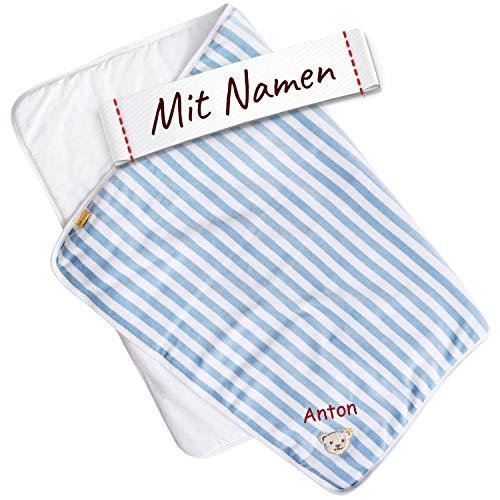 LALALO Steiff Babydecke bestickt mit Namen, Nicki Gestreift, Junge Kuschel- und Krabbeldecke, Nicky Decke mit Name für Babys als Geschenk zur Geburt, Geburtstag & Taufe (Hellblau)