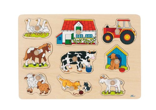 Goki 57908 Steckpuzzle Bauernhof I, bunt