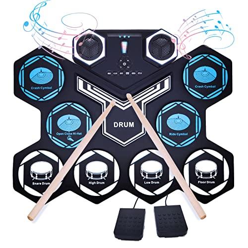 E-Drum Elektronisches Schlagzeug Set, Gimigo Tragbare Roll Up 9 Pads Elektronisches Schlagzeug Kit mit EingebautemDual-Stereo Lautsprecher,Bluetooth, MIDI, 2 Pedalen.Drumsticks für Kinder Anfänge
