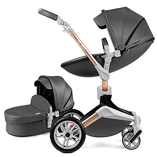 Hot Mom 3in1 360° Rotation Kinderwagen Kombikinderwagen Buggy mit Babywanne & Sportsitz, inklusive Babyschalen-Adapter, Aluminium Rahmen (Dunkelgrau 2in1)