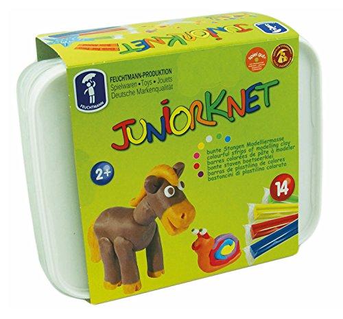 Feuchtmann 628.0318 - JUNiORKNET Maxi Box, 14 Stangen inkl. wiederverwendbarer Vorratsbox, bunt, geschmeidige Knete 2+, ca. 700 g, ideal als Geschenk für kreatives Spielen