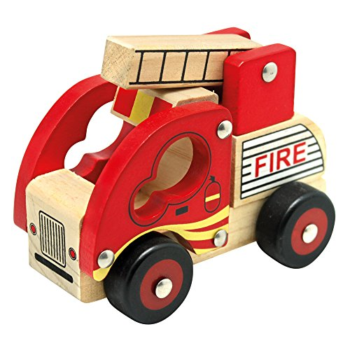 Bino Holzauto Feuerwehr Holzspielzeug Feuerwehrauto Spielzeug für Kinder ab 12 Monate (ausklappbare Leiter, Hart-PVC-Reifen, fördert Hand-/Augen-Koordination, Maße: 17 x 12 x 9 cm), Rot