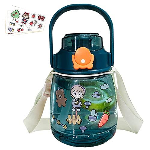 Trinkflasche Kinder Strohhalm, 1000ml/1500mlStrohhalmbecher für Kinder, BPA-frei Auslaufsicher, Kinderflasche mit Strohhalm für Schule, Kindergarten