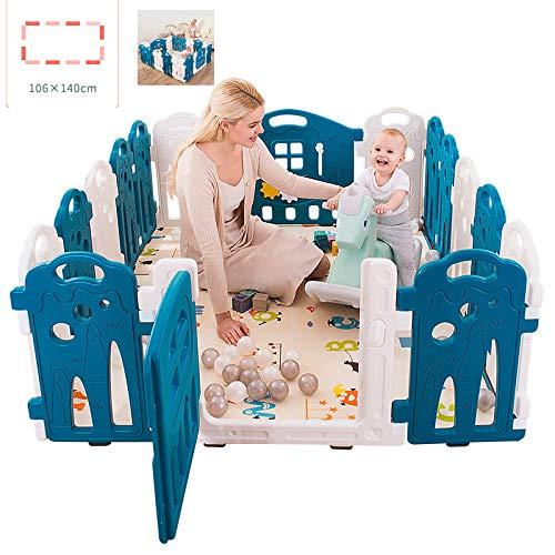 LYXCM Baby-Laufstall Faltbar, Baby-Kunststoff-Laufstall, Faltbar, Tragbarer Raumteiler, Kinderbarriere, Erweiterbares Hauptpaket 10 + 2