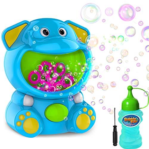 Elemore Home Seifenblasenmaschine, Elefanten-Seifenblasen-Spielzeug, 500+ Seifenblasen pro Minute, Bubble Machine für Kinder Kleinkinder mit Seifenblasenlösung, Indoor Outdoor-Spielzeug