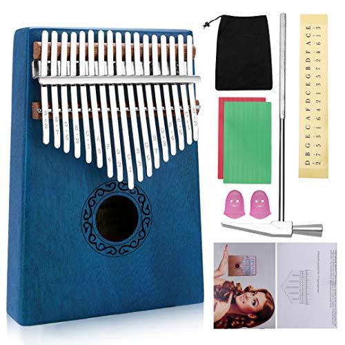 Tocawe Kalimba Marimba Mini 17 Schlüssel Daumenklavier Musikinstrumente Massivem Mahagoni Holz Körper Finger Klavier Kalimba Mit Melodie Hammer Für Erwachsene Kinder Anfänger (Blau)