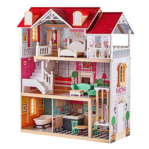 TOP BRIGHT Puppenhaus aus Holz, Puppenhaus mit Möbel und Zubehör, Puppen Haus Spielzeug für Mädchen