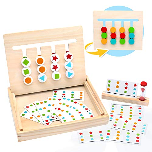 MontessoriSpielzeug Holz Puzzle Sortierbox Kinder Lernspielzeug mit Sanduhr Geschenk Spiele ab 3 4 5 Jahren Alte Jungen Mädchen, (MEHRWEG)