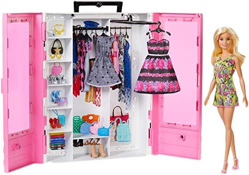 Barbie GBK12 - Tragbarer Kleiderschrank mit Kleiderbügel inkl. Puppe, Puppenzubehör und Puppen Spielzeug ab 3 Jahren