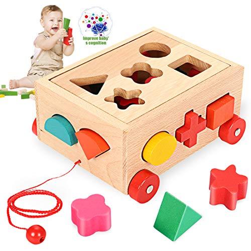 O-Kinee Steckwürfel aus Holz, Sortier Stapel Steckspielzeug Montessori Lernspielzeug, Holzsteckspiel für Baby Kleinkind Montessori Lernspielzeug Geschenk zum Geburtstag Kindertag Weihnachten
