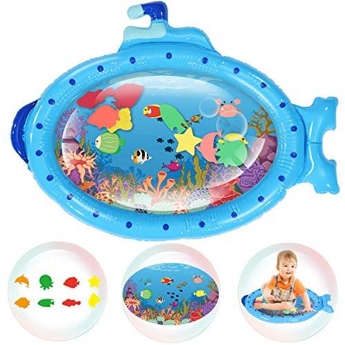 Wassermatte Baby, Wasserspielmatte Baby, Baby Spielzeug 3 6 9 Monate, Blau U-Boot Auslaufsichere Baby Wassergefüllte Spielmatte Spielzeuge, für frühe Entwicklung des Säuglings (86x68CM)