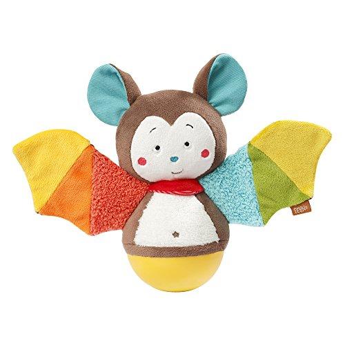 Fehn 067668 Stehauf-Fledermaus – Lustiges Spielzeug zum Greifen, Fühlen und Stupsen – Für Babys und Kleinkinder ab 0+ Monaten – Größe: 20 cm