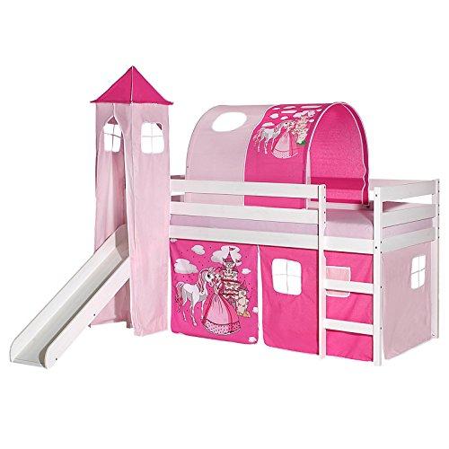 IDIMEX Rutschbett Benny Hochbett Kinderbett Spielbett Holzbett mit Rutsche, Vorhang, Tunnel und Turm Prinzessin Motiv rosa pink, Kiefer massiv weiß lackiert, 90 x 200 cm