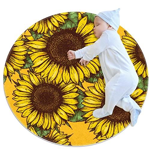 Krabbelmatten rutschfeste Bodenmatten Kinderzimmer Spielmatten Kinderteppich Spielmatten Gelb Sonnenblume