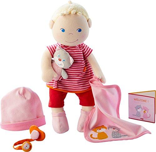 HABA - 303724 - Babypuppe Jule | Stoffpuppe zum Kuscheln und Spielen mit Zubehör | Puppe mit Mütze, Schnuller, Schnullerkette, Kuscheldecke, Kuscheltier und Geburtspass | Ab 1 Jahr