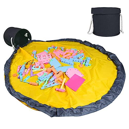 Clastyle 22L Spielmatte Aufbewahrungskorb mit Deckel für Kinder Faltbar Spielzeug Aufräumsack Schwarz mit Spieldecke Spielzeug Aufbewahrungsbox Rund Wasserdicht mit Henkel