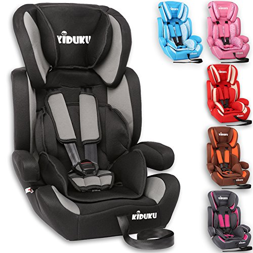 KIDUKU® Kindersitz 9-36 kg (1-12 Jahre) - Autositz ECE R44/04, Gruppe 1/2/3 Autokindersitz Kinderautositz, Schwarz/Grau