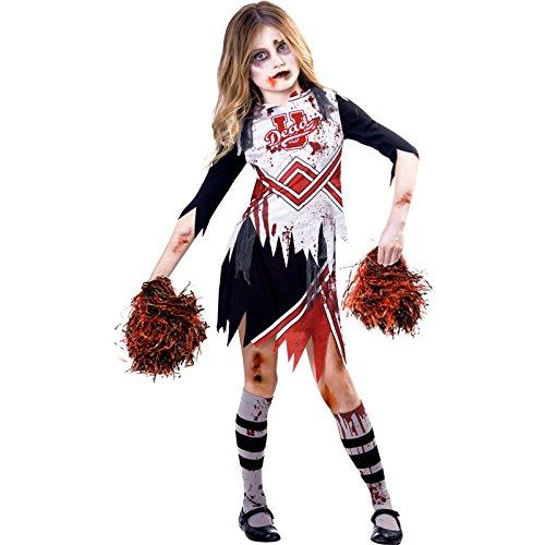 amscan 9902692 Kinder Zombie Cheerleader Verkleidung Halloween Kostüm High School Mädchen Kinder Outfit (Alter 9-10 Jahre)
