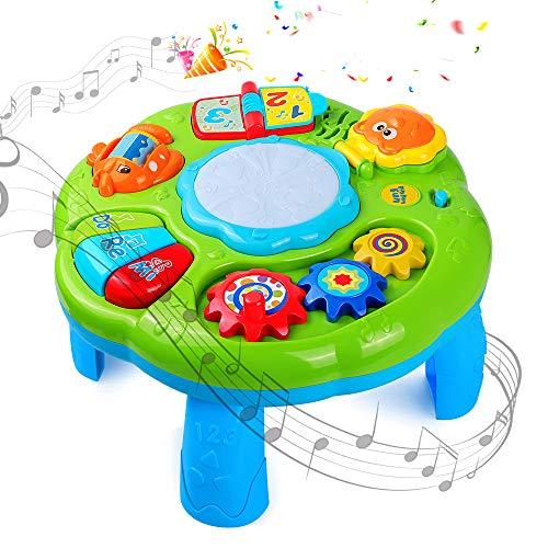 STOTOY Musical Spieltisch Babyspielzeug 2 in 1 Früherziehung Musikspielzeug, Baby Tisch Musiktisch für Kleinkinder Kleinkind Jungen Mädchen ab 18 Monate