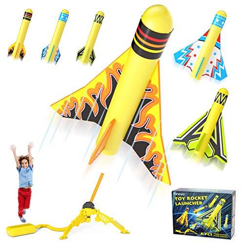 FUNOVA Druckluftrakete Outdoor Rakete Spielzeug - Rocket Gartenspiele Spielzeug für Draußen Kinder ab 3 4 5 6 7 8 9 Jahre alt Jungen Mädchen Geschenke, 3 Stomp Schaumstoff Raketen und 3 Stunt Planes