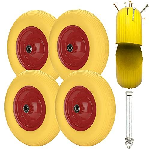 EINFEBEN 4x Schubkarrenrad 4.80 4.00-8 Vollgummi mit Achse, Gummirad, pannensicher, 200 kg Tragkraft Ersatzrad, Stahlfelge Reifen gelb-rot, Reifen für Gartenkarren