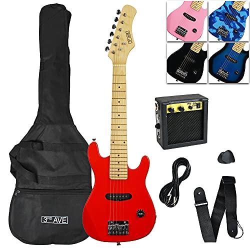 3rd Avenue E-Gitarrenset Junior, E-Gitarre für Anfänger, mit Verstärker, Kabel, Gigbag und Gurt – Rot