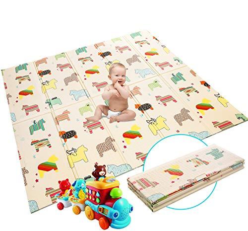 Krabbelmatte Baby Spielmatte Extra große Babyspielmatte faltbare reversible ungiftige Schaum Crawl Playmat wasserdichte Kinder Baby Kleinkind im Freien oder im Innenbereich(180 x 200 x 1cm)