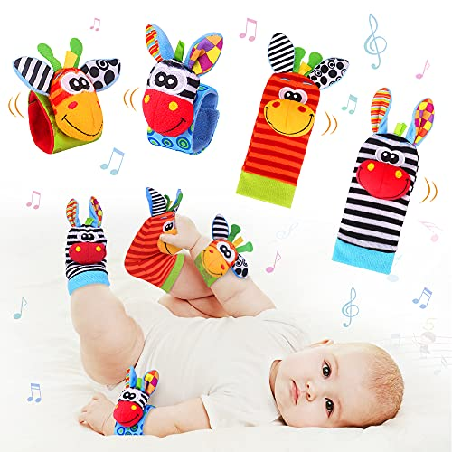 Baby Rasseln Spielzeug Socken und Handgelenk, Fuß und Handgelenk Rassel Finder Plüschtier Spiel Socken Nettes Tier Weiches Baby Handgelenk für Neugeborene Mädchen und Jungen Geschenk 4 PCS