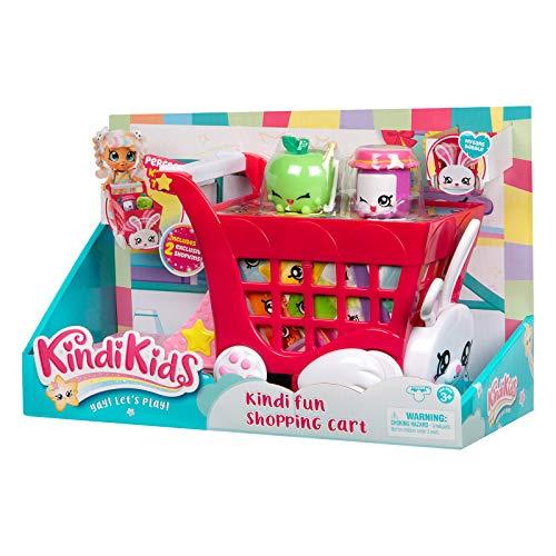 Kindi Kids Einkaufswagen Spielset im Hasen-Design mit wackelnden Ohren und 2 Shopkin-Zubehörteilen, bunt/Mehrfarbig, passendes Spielset für Kindi Kids Puppen (50001)