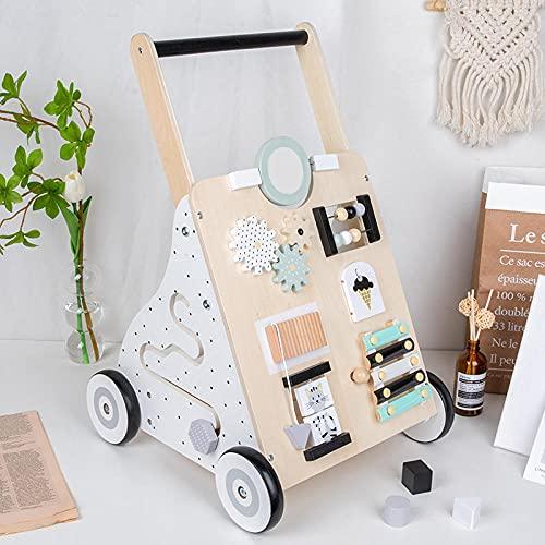 Lauflernwagen Multifunktionswagen, 2 in 1 Baby Früherziehungsspielzeug, Anti Rollover Holzspielzeugauto, Früherziehungsspielzeug mit Aufbewahrung