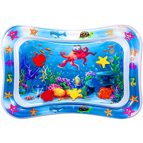 Baby Wassermatte auslaufsicheres PVC Wassergefüllte Spielmatte für Baby ab 3 6 9 Monate, perfektes Spielzeuggeschenk für Baby Sensorisches Entwicklung Ausbildung, BPA-frei (60 x 50 cm) …