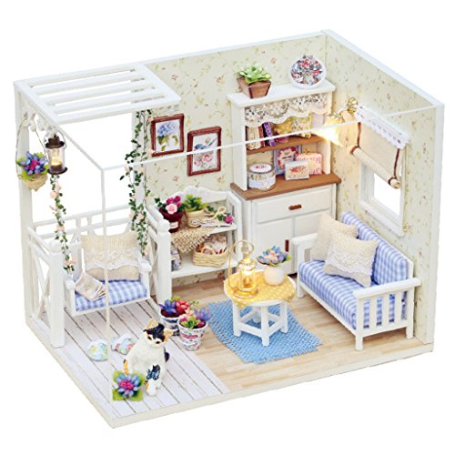 freneci Thematische DIY Holzpuppenhaus Miniatur Projekt Möbel Set mit LED Leuchten