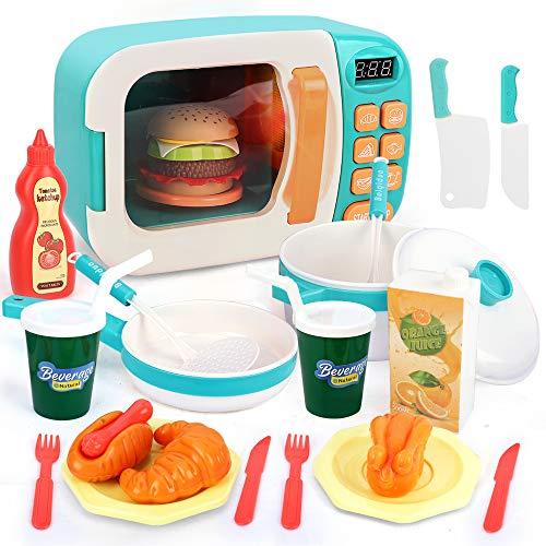 BeebeeRun Kinder Mikrowelle Spielzeug Kinder Küche Spielzeug,Kinder Küche Zubehör Für Kinder Kinderküche Kochgeschirr,Pretend Kinder küche Spielset mit Licht und Sound