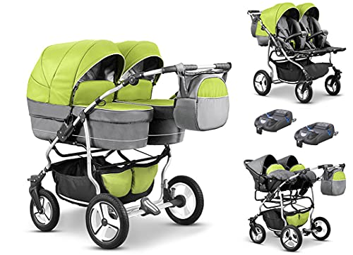 Zwillingskinderwagen Geschwisterwagen Duo Lux 4 in 1 in Farbe Pistazie-Hellgrau