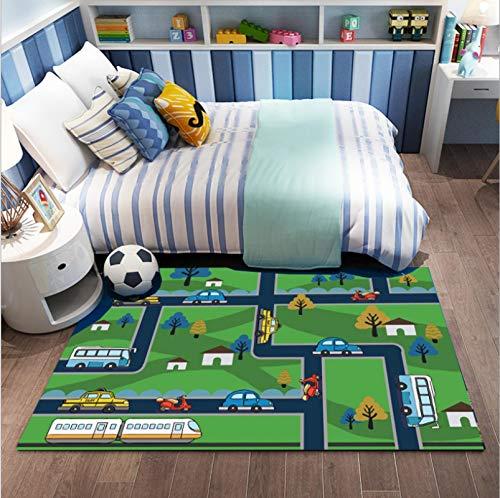 Kinderteppich, Cartoon Stadtstraße Auto Zug Druckteppich, Jungen Schlafzimmer Bett Baby Kleinkind Kriechen Bodenmatte 120cmx170cm