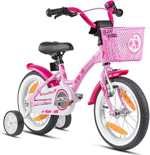 Prometheus Mädchenfahrrad 14 Zoll mit Stützräder Kinderfahrrad ab 3-4 Jahre Mädchen Rücktritt 14zoll Modell 2021 in Pink Rosa