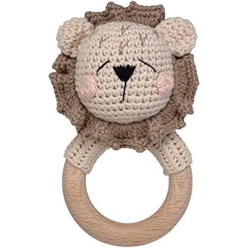 Beißring gehäkelte Tiere Löwe mit intigrierter Babyrassel, Greifling Spielzeug Beißring   Geschenk zur Geburt für Baby & Kinder Junge/Mädchen (Löwe Sleepy)