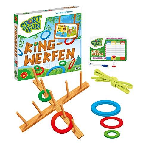 A Alexander 2444 Sport & Fun werfen, Wurfspiel Set mit 6 Holz Ringen, X Kreuz und 9 Stäben, Ringwurfspiel für 2 bis 4, Outdoor Spiel für Draußen, für Erwachsene und Kinder ab 3 Jahren
