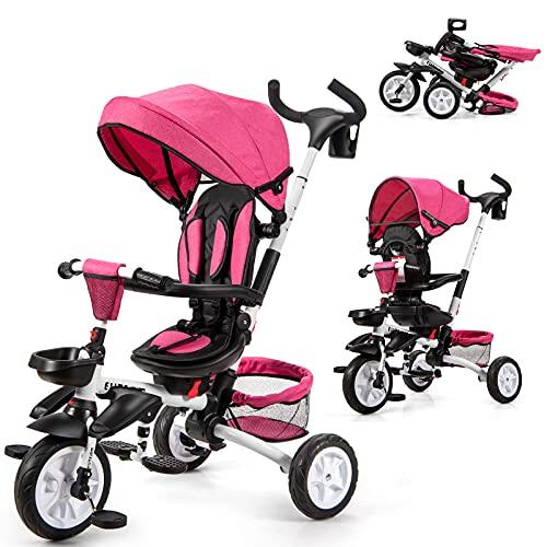 GOPLUS 6-in-1 Kinderdreirad, Dreirad mit 360° Drehsitz, Zusammenklappbarer Kinderwagen, Höhenverstellbare Schubstange, mit Sicherheitsgurt, Verstellbare Rückenlehne & Sitzfläche (Rosa)
